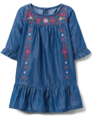 18D3-001 Crazy8 Embroidered Chambray Dress - 12-18 tháng