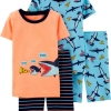 19M4-027 Carter's 4-Piece Shark Snug Fit Cotton PJs - 7 tuổi