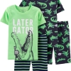 19M4-028 Carter's 4-Piece Alligator Snug Fit Cotton PJs - 7 tuổi