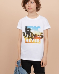 19U3-061 H&M T-shirt with Printed Design - 11-12 tuổi