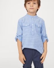 19U3-076 H&M Band-collar Shirt - 7 tuổi