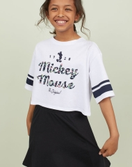 19G3-010 H&M Short Printed T-shirt - 8-10 tuổi