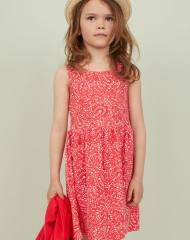 19G4-029 H&M Patterned Jersey Dress - 8-10 tuổi