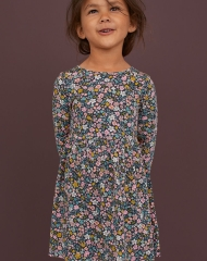 19G4-034 H&M Patterned Jersey Dress - 8-10 tuổi