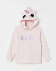 19O1-007 H&M Hooded Top with Appliqués - Áo thun bé gái