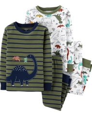 19O1-049 Carter's 4-Piece Dinosaur Snug Fit Cotton PJs - BÉ TRAI