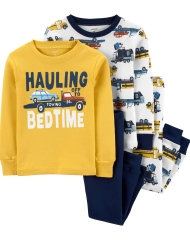 19O1-048 Carter's 4-Piece Construction Truck Snug Fit Cotton PJs - BÉ TRAI