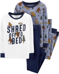 19O1-063 Carter's 4-Piece Bear Snug Fit Cotton PJs - 8-10 tuổi