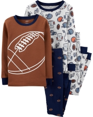 19O1-061 Carter's 4-Piece Football Snug Fit Cotton PJs - 8-10 tuổi