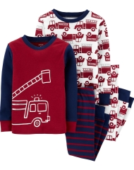19O1-043 Carter's 4-Piece Firetruck Snug Fit Cotton PJs - BÉ TRAI