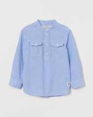19O1-034 H&M Band-collar Shirt - 8-10 tuổi