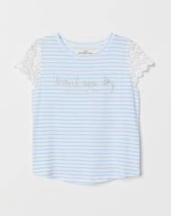 19N2-010 H&M Top with lace - 10-12 tuổi