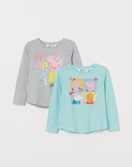 20M1-016 H&M 2-pack Printed Tops - 7 tuổi
