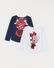 20M1-015 H&M 2-pack Printed Tops - 7 tuổi